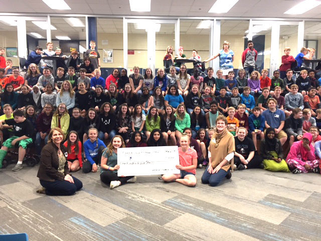 "Owatonna Foundation Helps Owatonna Middle School students make donations to the Steele County Food Shelf and ""We All Play"" Project"