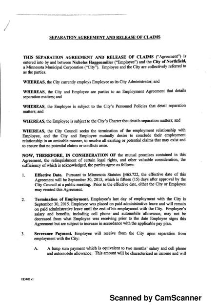 Separation Agreement And Release Of Claims Southernminn
