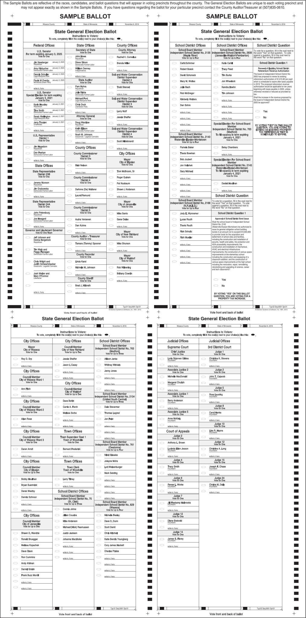 Waseca County Sample Ballot 2018