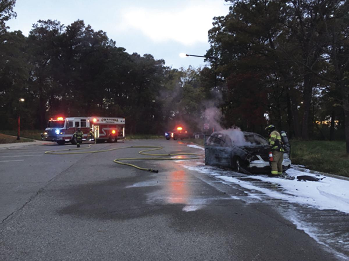 Car catches fire at I-35 rest stop