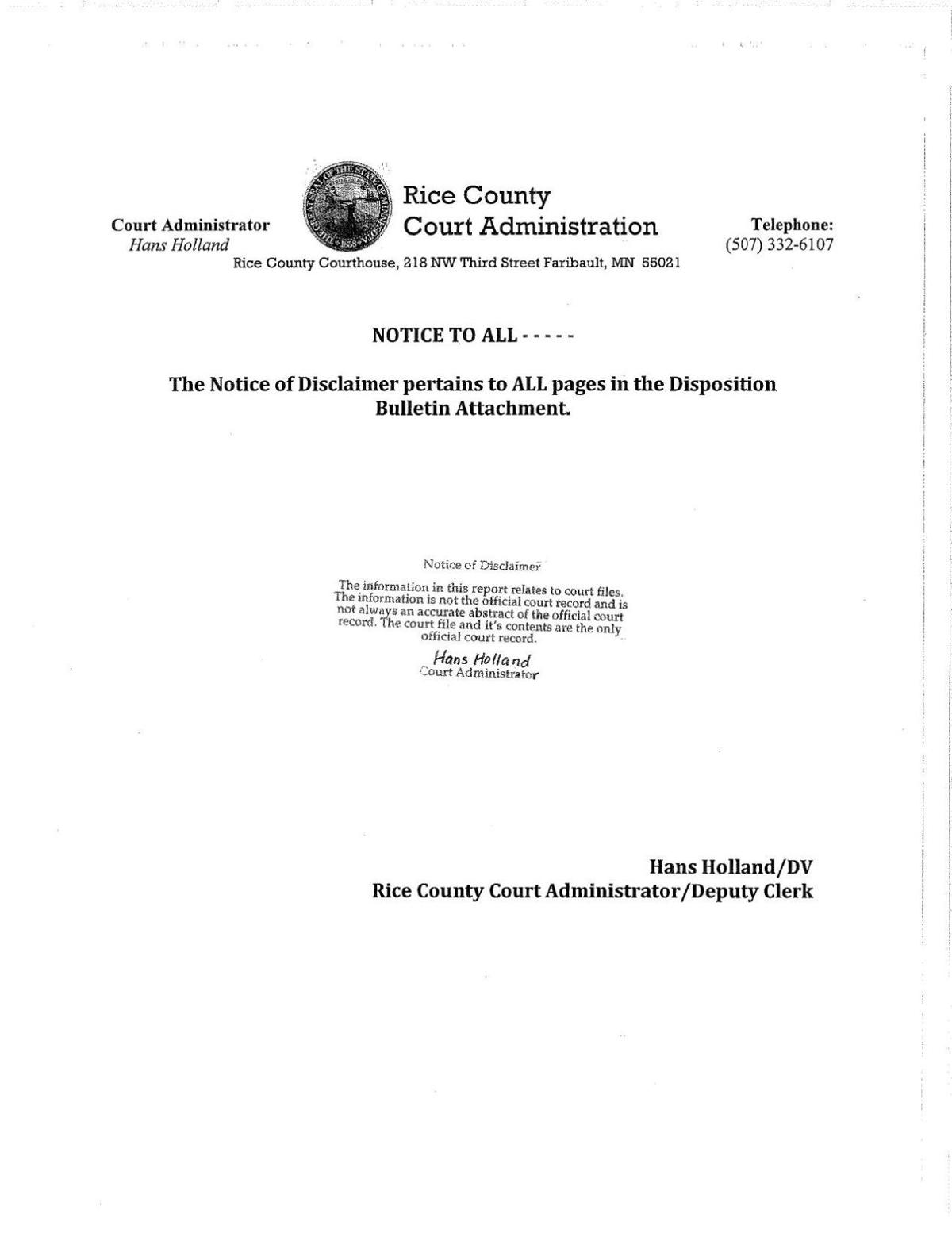 Oct. 19 Rice County court dispositions