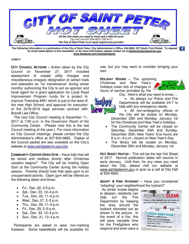 HOT SHEET: city of St. Peter weekly memo - Dec. 6, 2017 ...
