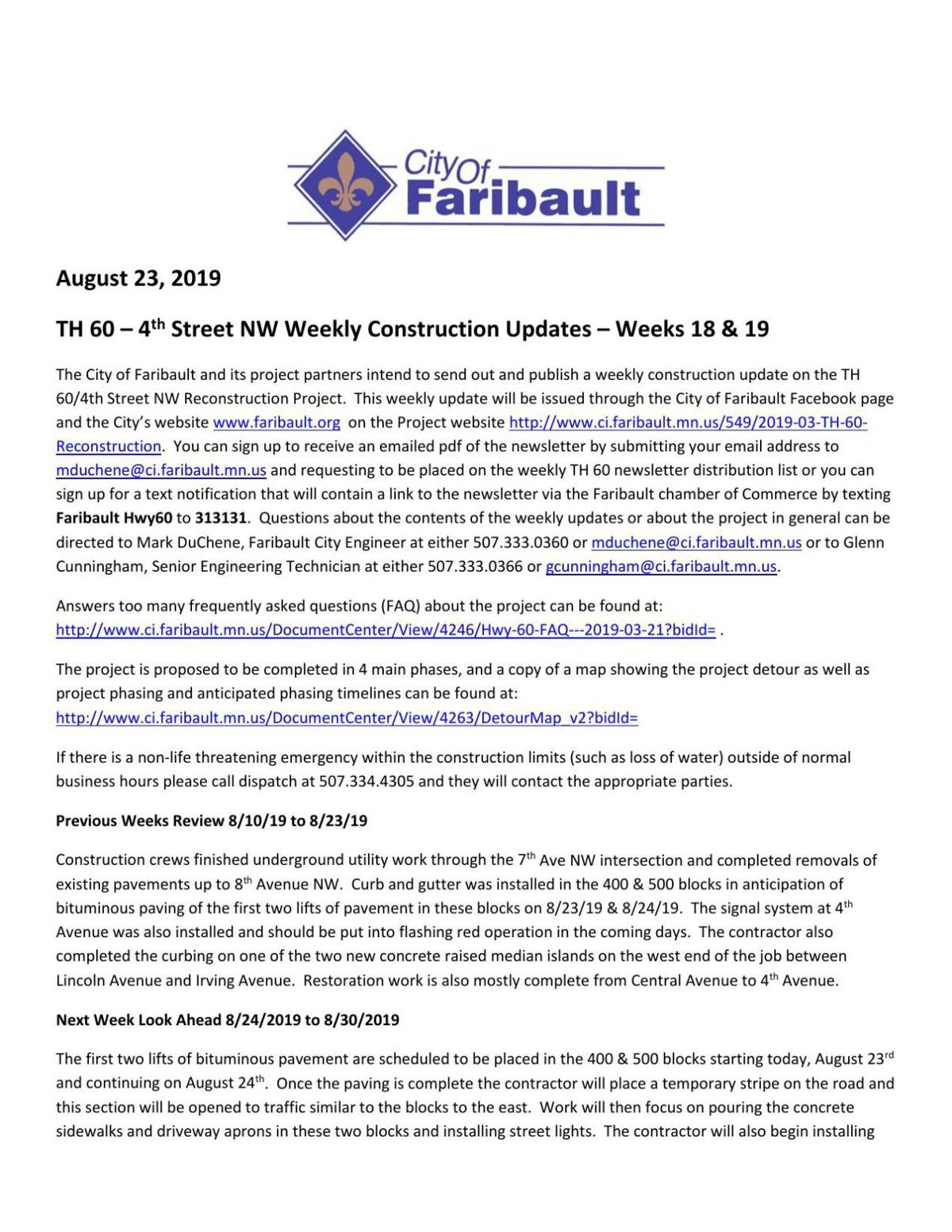 Hwy. 60/Fourth St. weekly update - Aug. 23