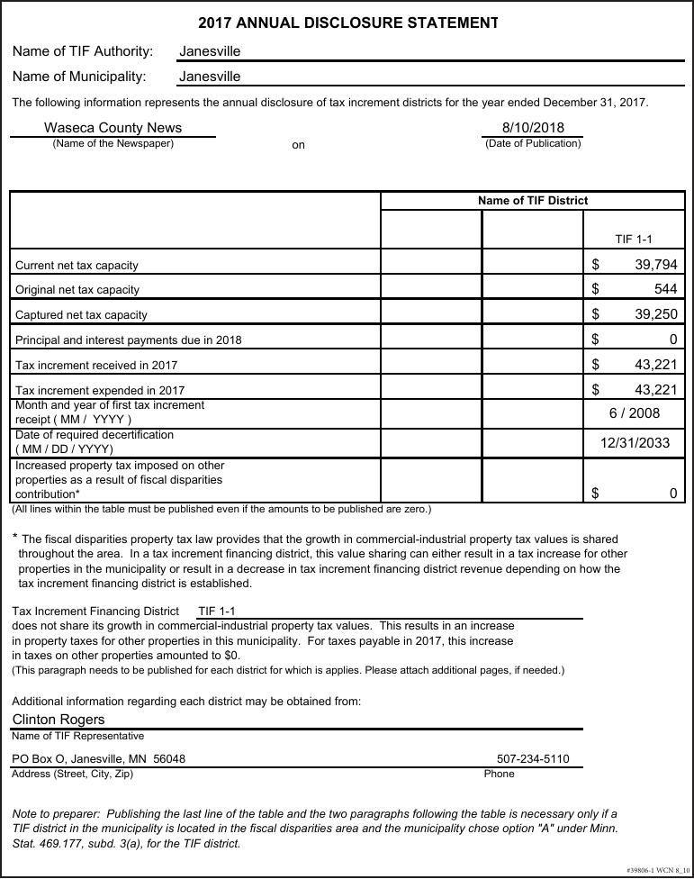 39806-1 - Janesville 2017 Disclosure Statement