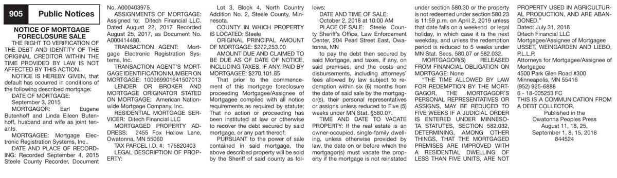 40507-1 Notice of Mortgage Foreclosure - Eugene and Linda Butenhoff