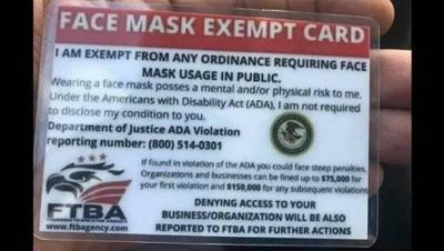 Face mask exempt cards