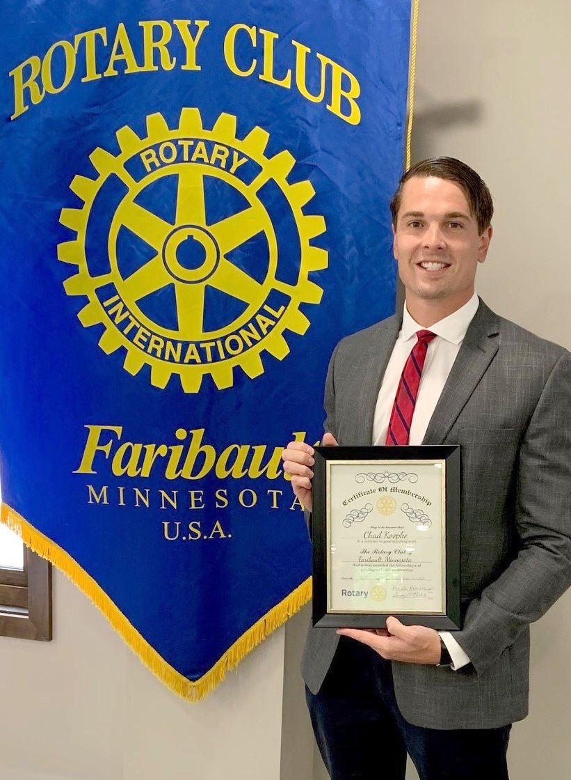 Chad Koepke inducted to Faribault Rotary Club   Community   southernminn.com