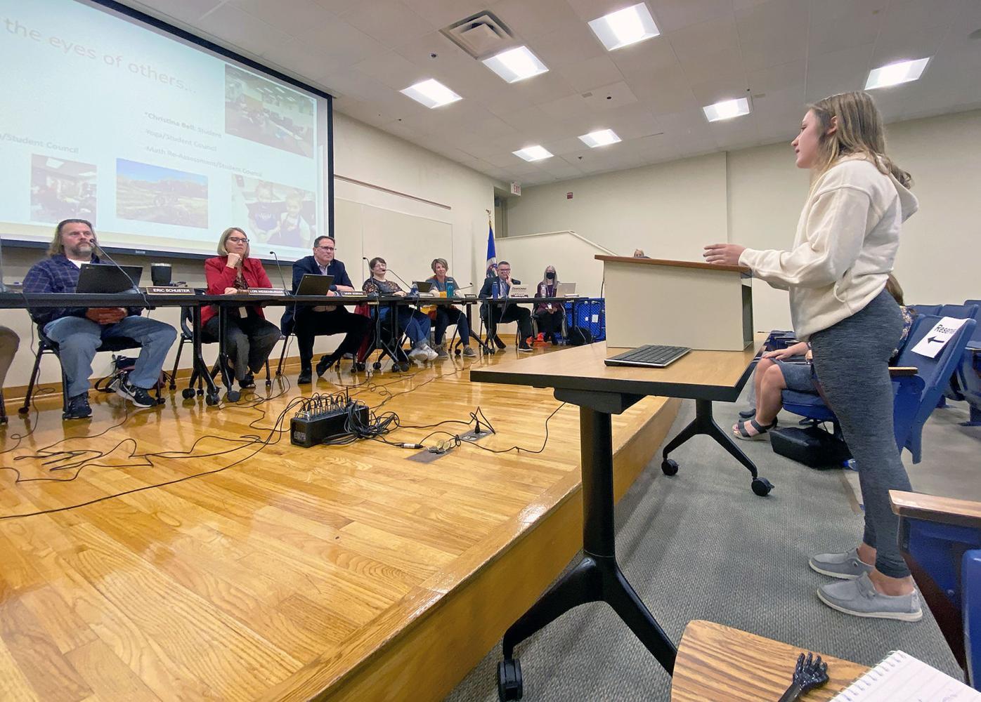 Student speaks to school board