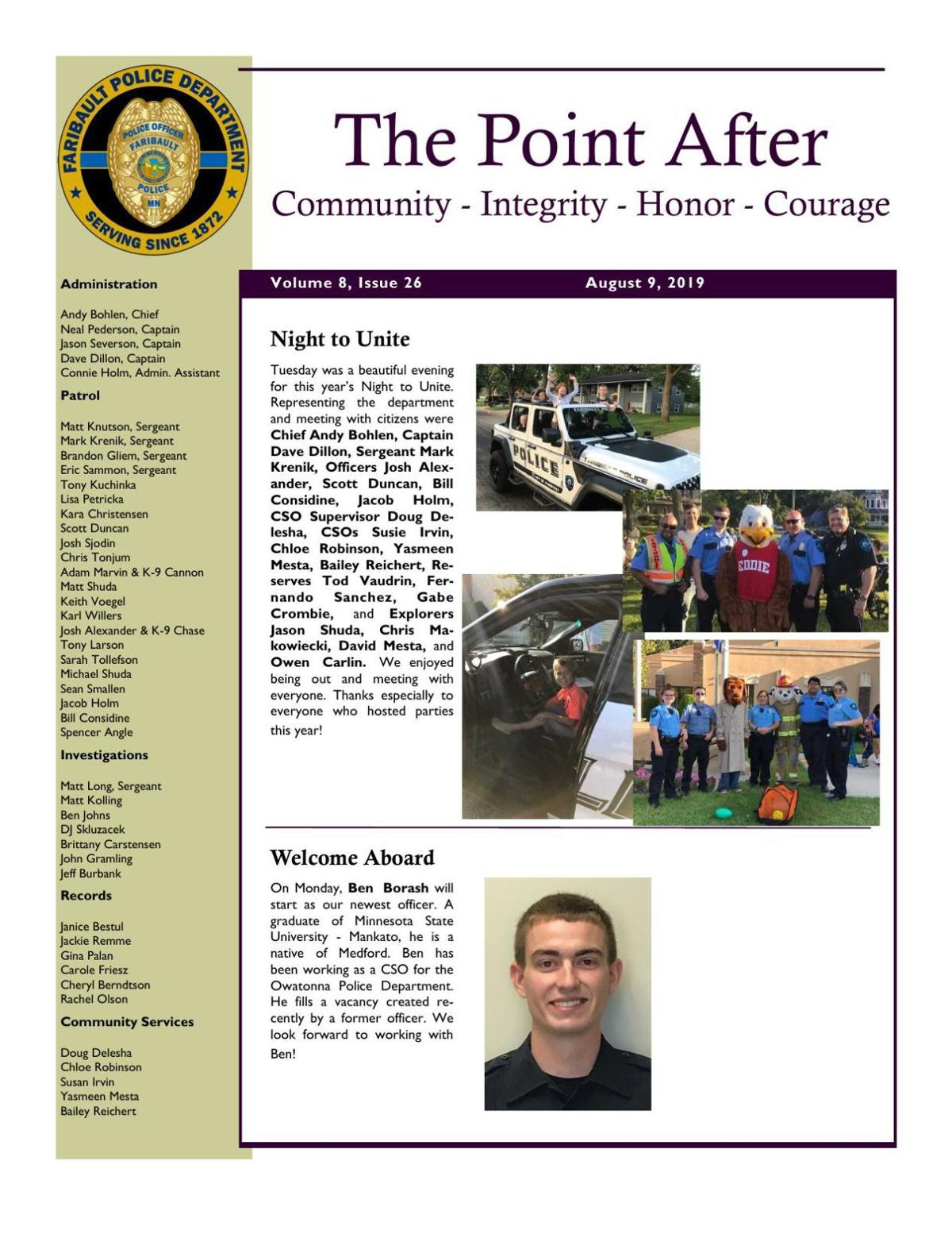 The Point After, Faribault Police Dept. weekly newsletter - Aug. 9