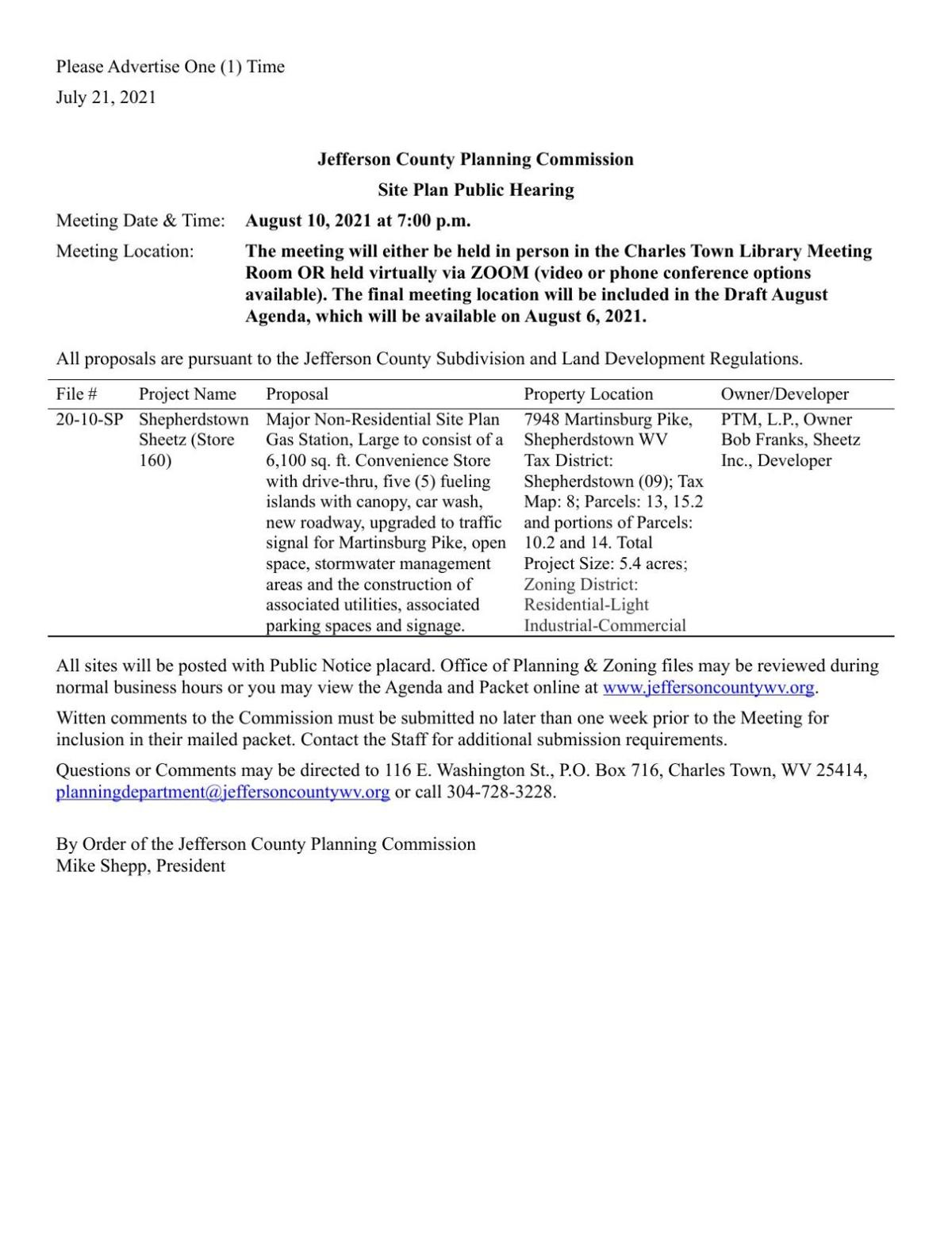 Jefferson County Planning Commission Site Plan Public Hearing