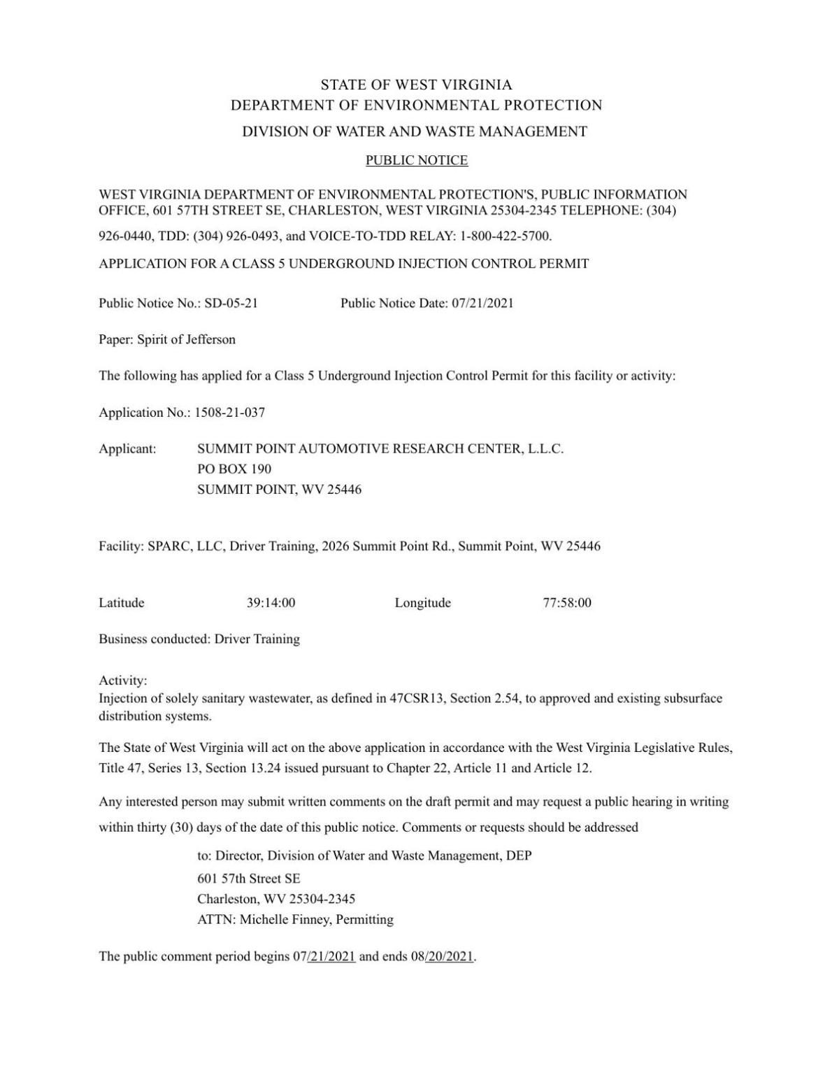 Public Notice 1 WV Dept of Environmental Protection