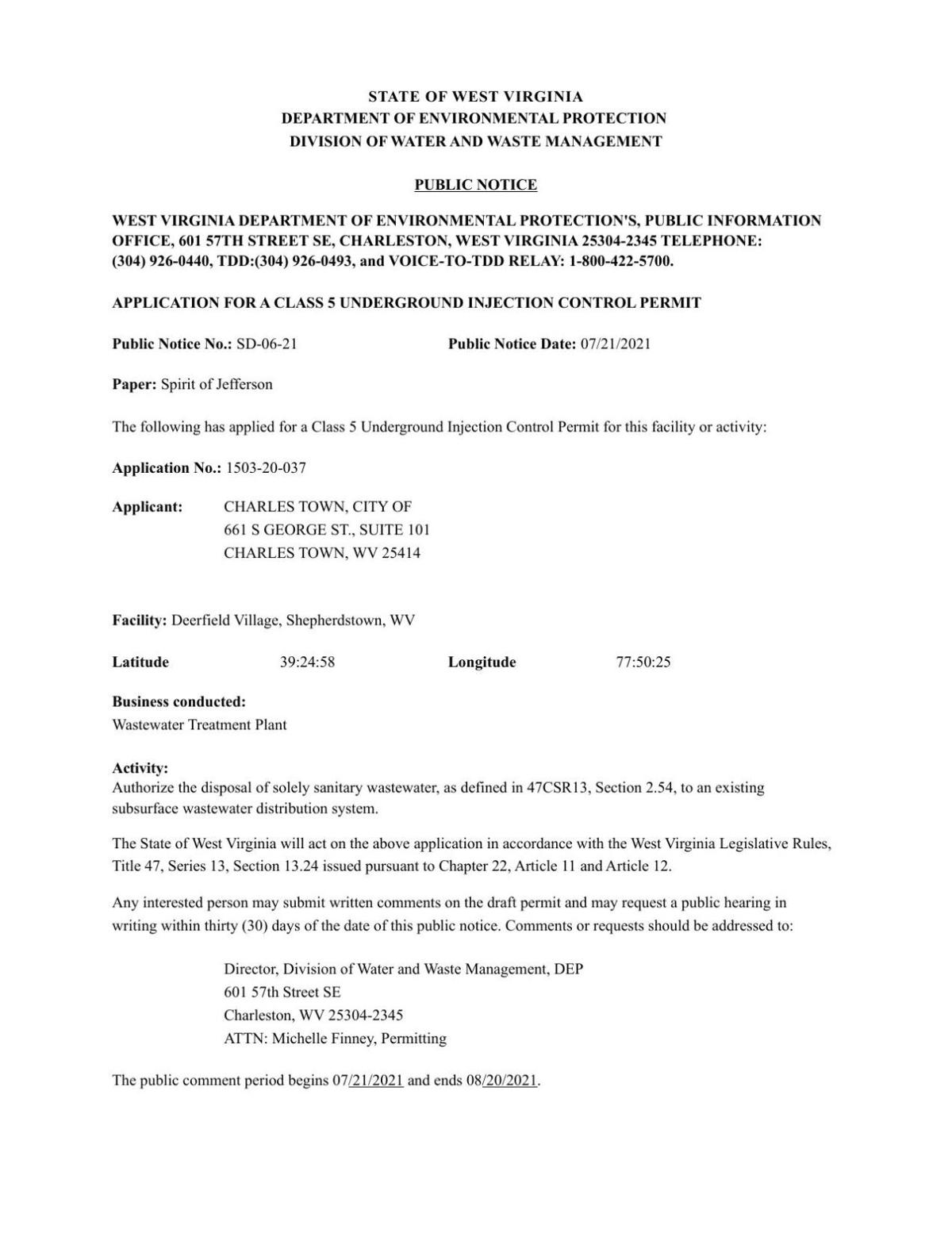 Public Notice 2 WV Dept of Environmental Protection