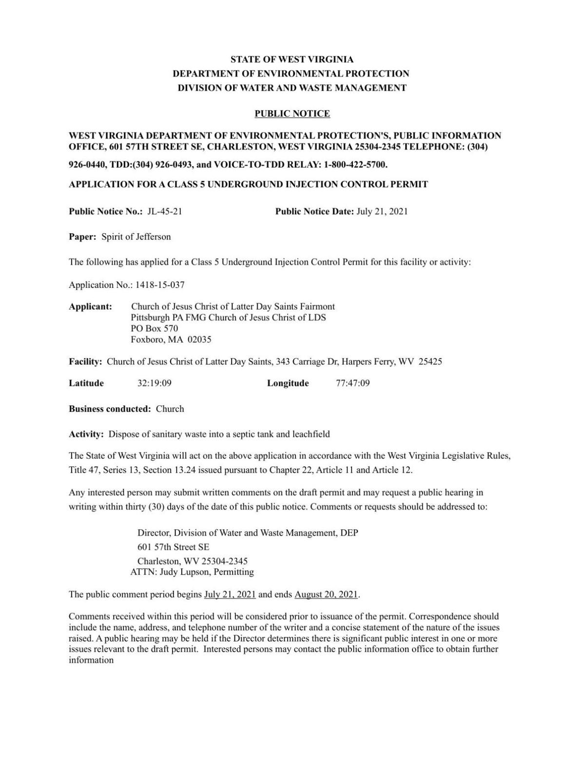 Public Notice 3 WV Dept of Environmental Protection