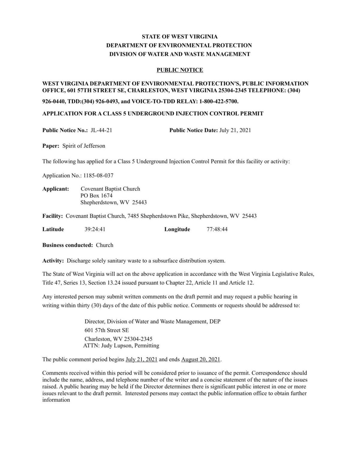 Public Notice 4 WV Dept of Environmental Protection