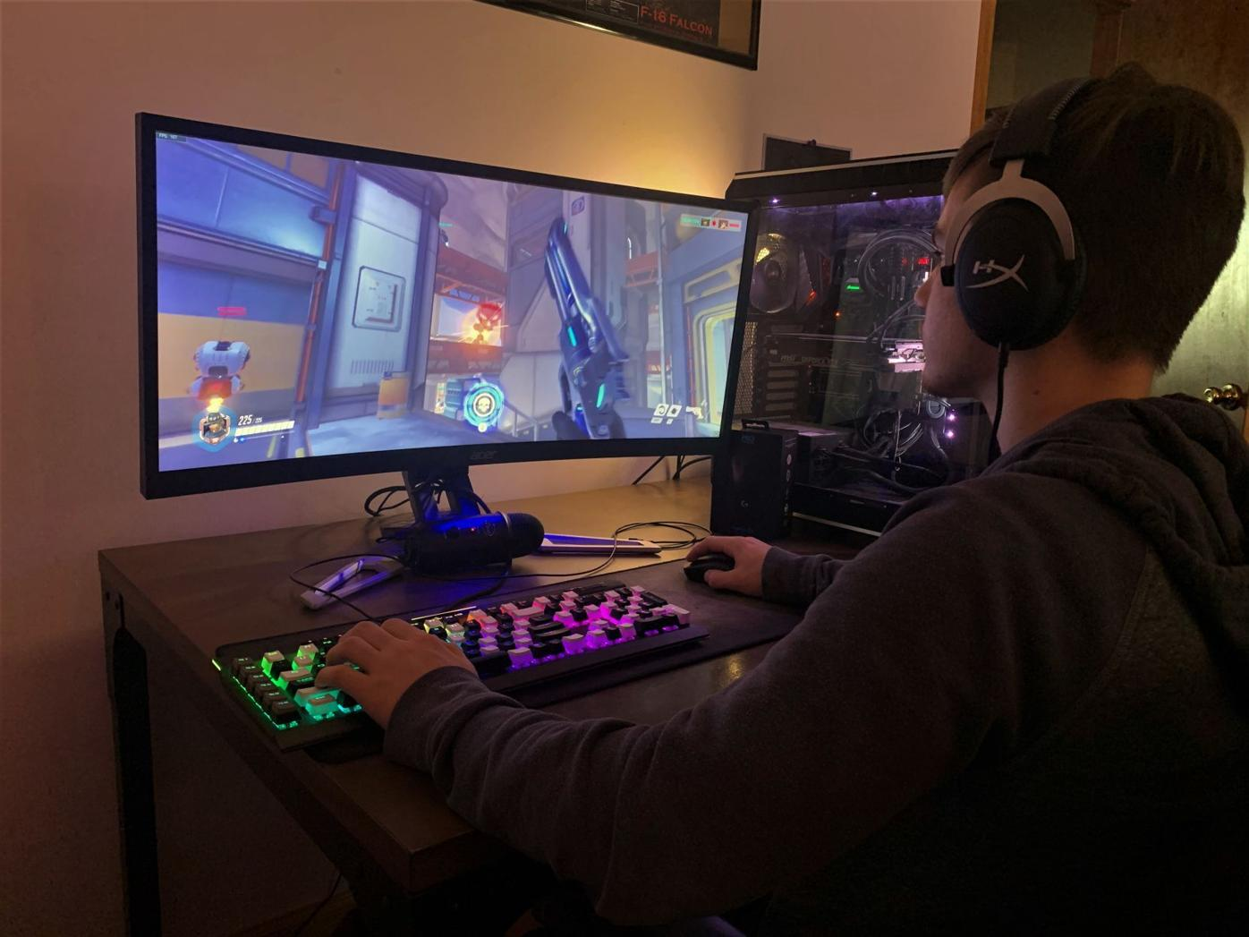 Crestwood's Esports Club member Kurt Grenzberg plays on his computer