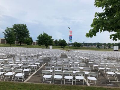 Rows of chairs set up for graduation at HAHS