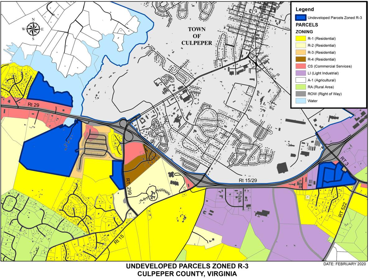 Map of undeveloped R-3 parcels in Culpeper County