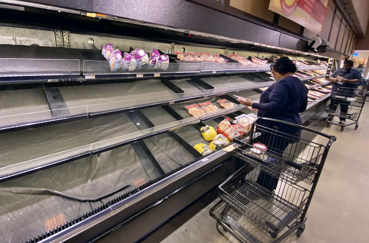 empty meat cases at Wegmans