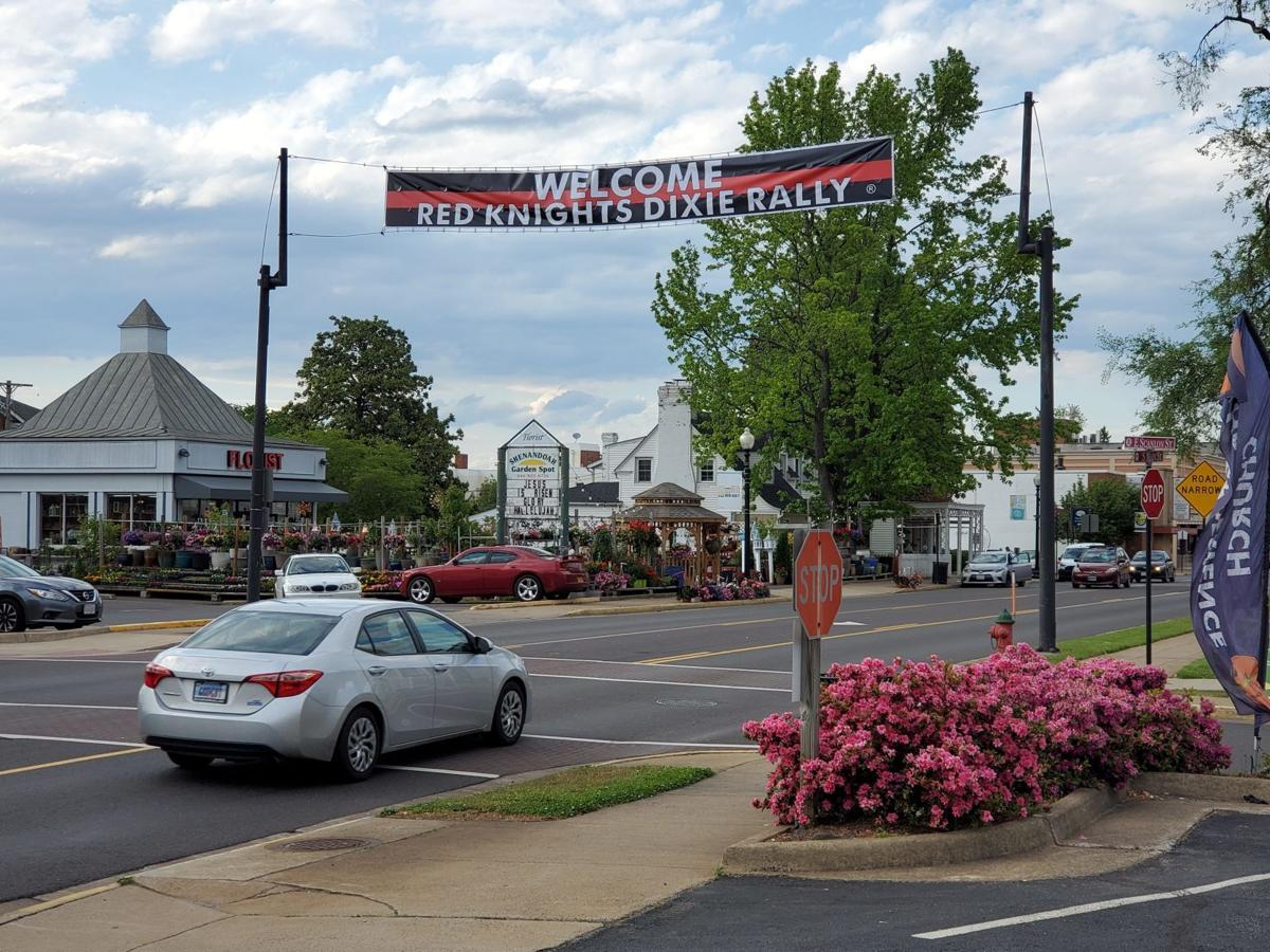 Red Knights banner over Main Street in Culpeper
