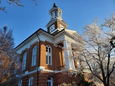 Culpeper County Courthouse with winter ice in trees