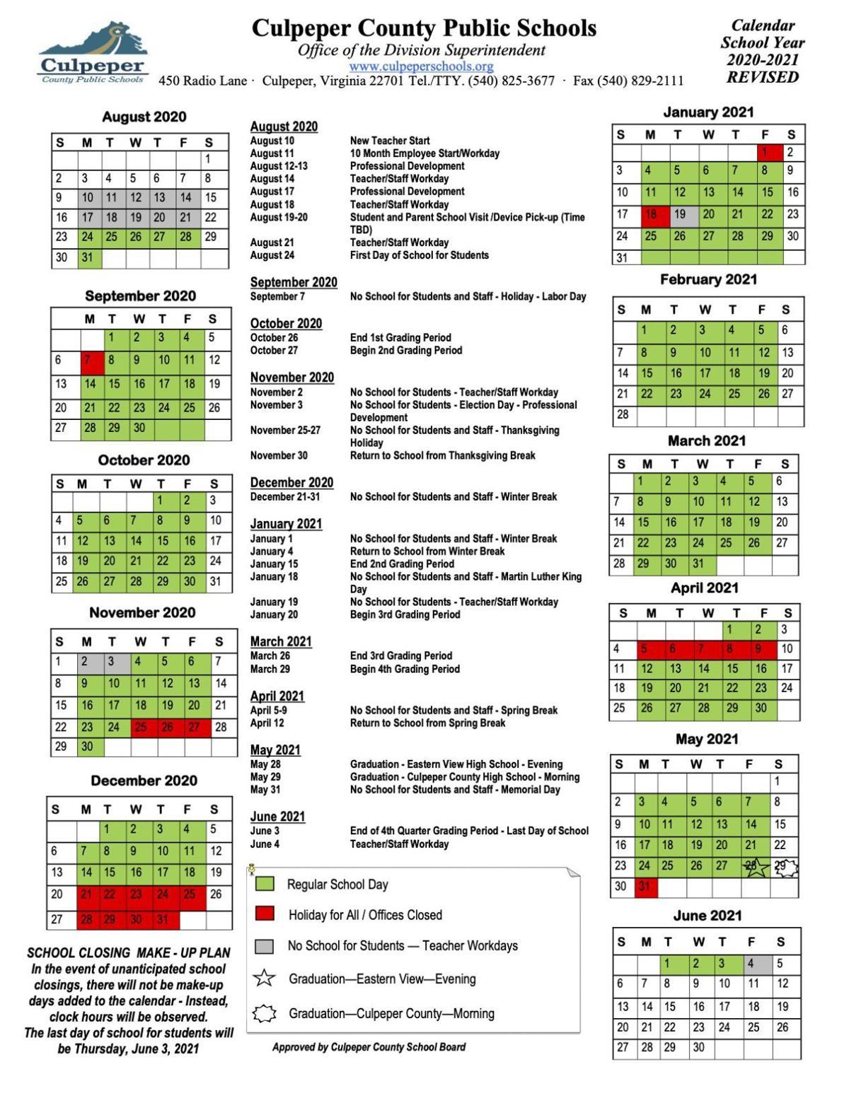 CCPS 2020 Revised Covid Calendar