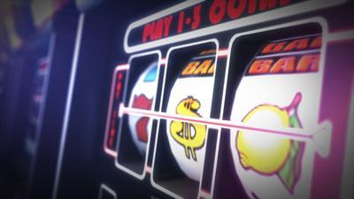 Casino Slot Games Playing Concept 3D Illustration. One Armed Bandit Slot Machine Closeup. (copy)