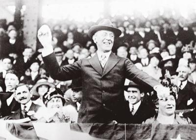 Woodrow Wilson throws the first pitch