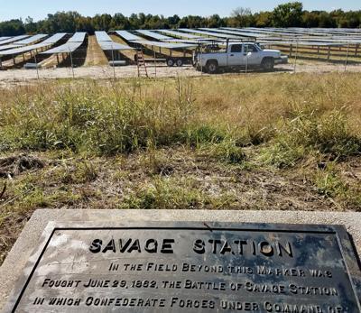 Solar panels at Savage's Station battlefield
