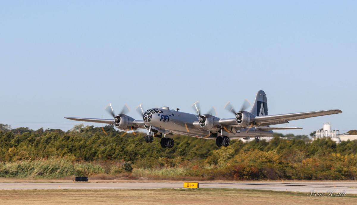 """B-29 Superfortress """"FIFI"""" takes off"""