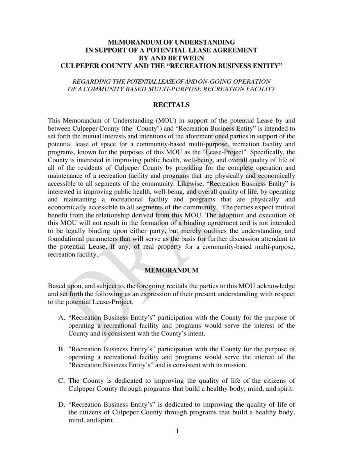 Ymca Draft Lease Agreement Starexponent
