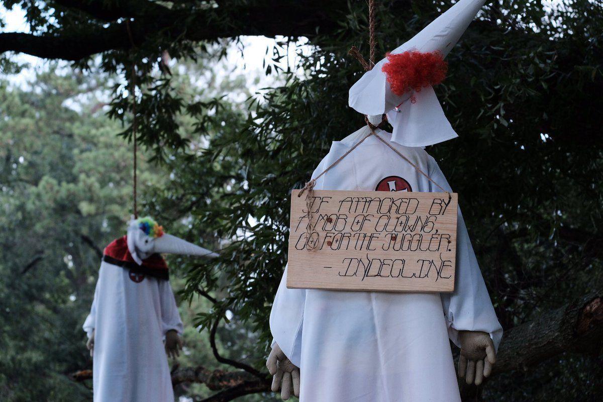 Activist Group Hangs Effigies Of Clowns Dressed In Kkk