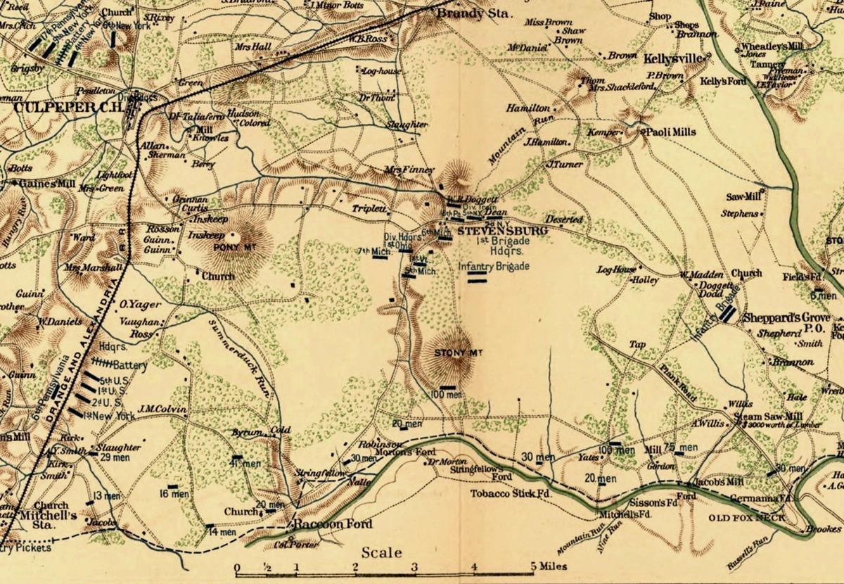 Union army positions near Stevensburg