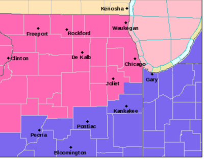 NWS Winter Storm Warning Map 1-24-21  4pm