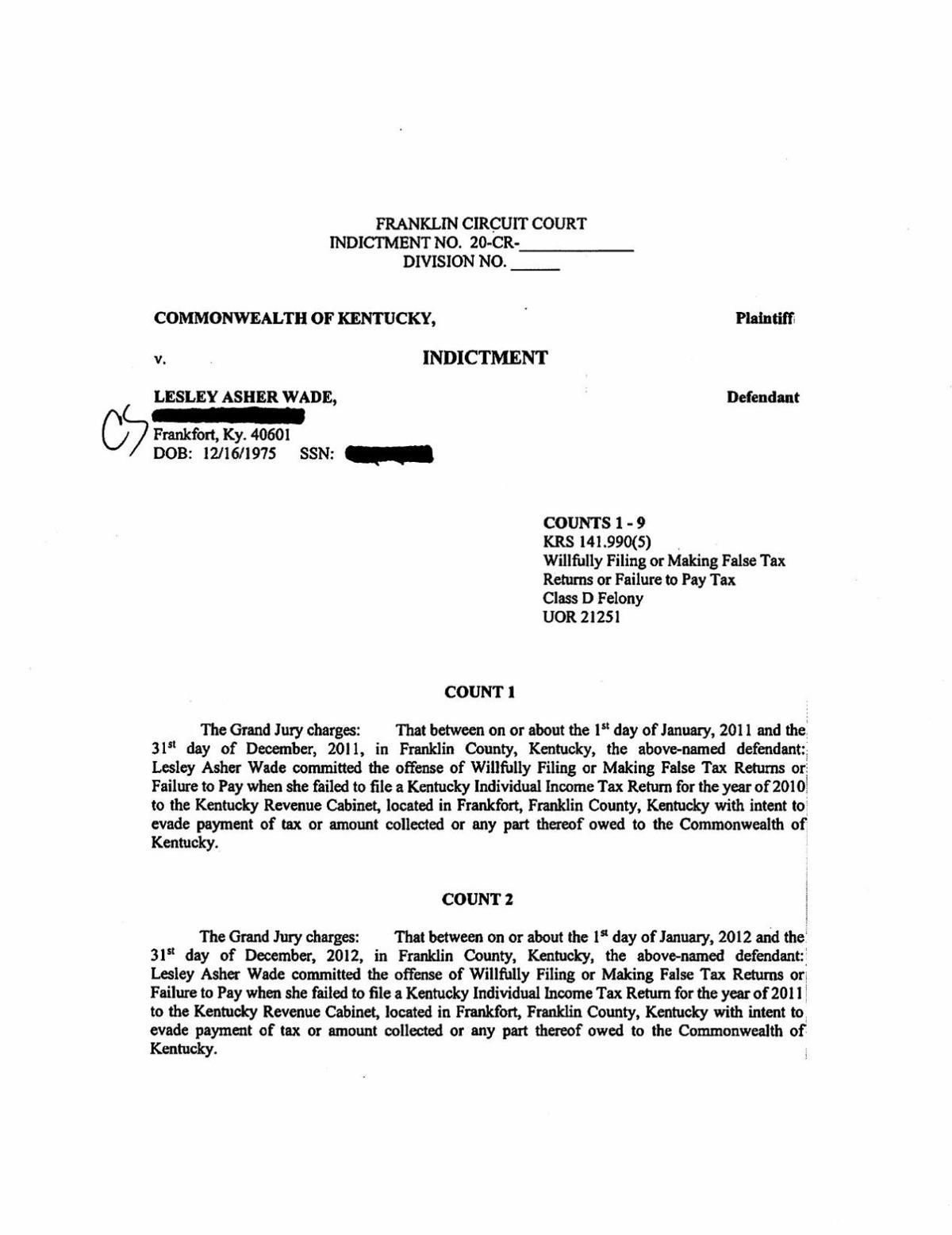 Wade- tax evasion