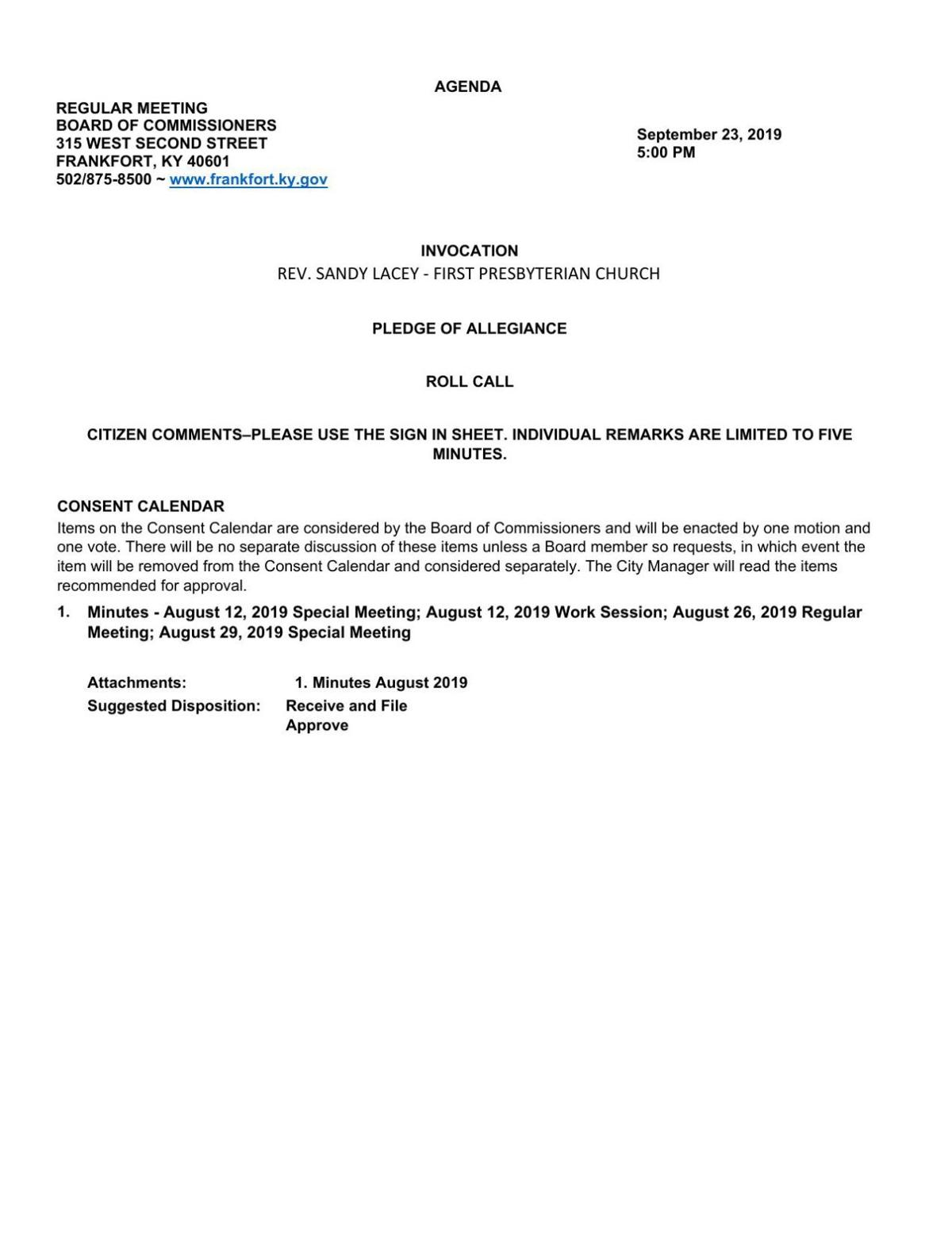 Frankfort City Commission agenda - Sept. 23, 2019
