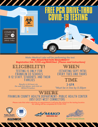 8.5/11 COVID Testing - MAKO, FCS, FCHD