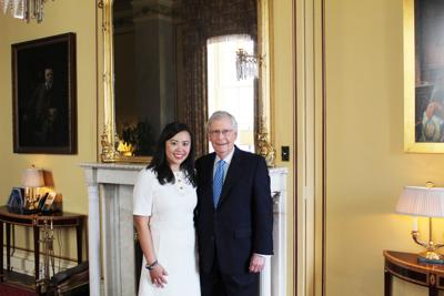 Jennifer Yue Barber and Senate Majority Leader Mitch McConnell