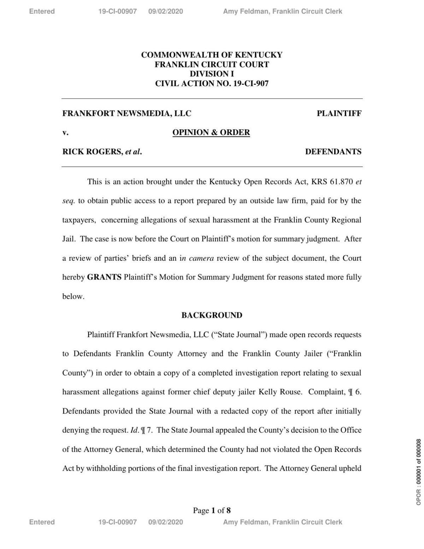 Judge Shepherd's ruling in Kelly Rouse case