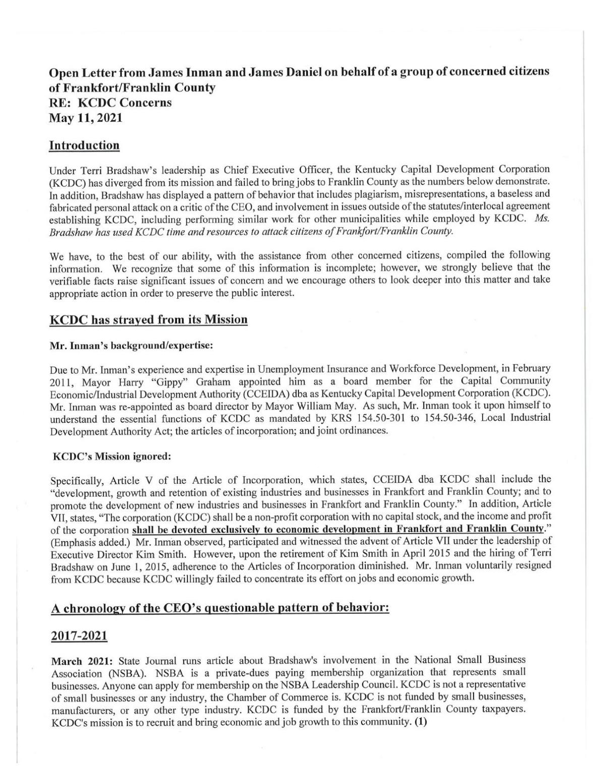 Inman/Daniel letter on KCDC