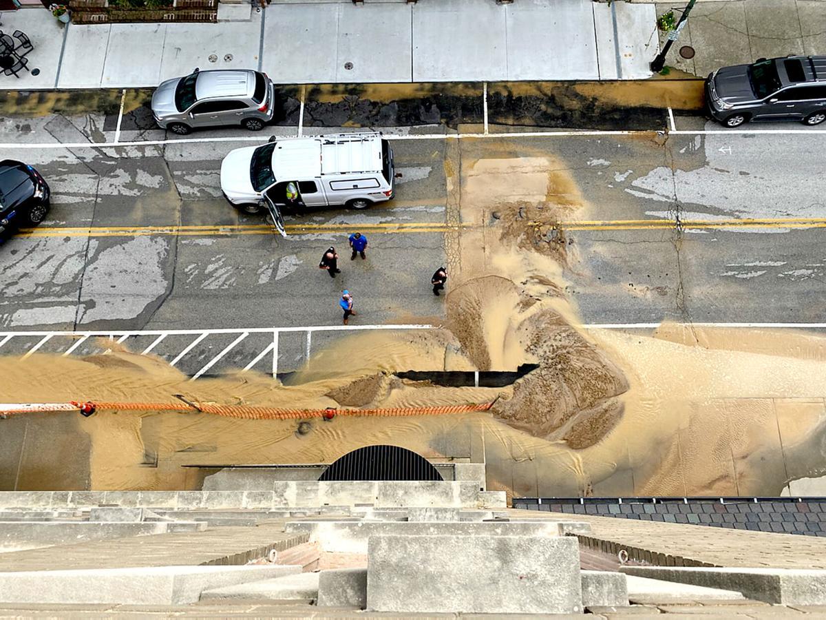 PHOTO: Water main breaks on West Main Street