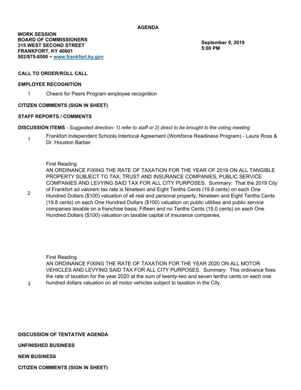Frankfort City Commission work session agenda (Sept. 9, 2019)