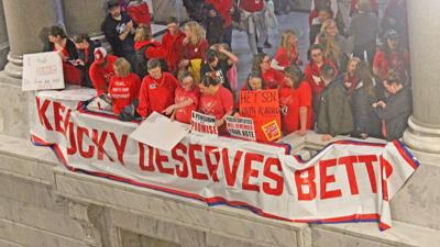 Some Kentucky teachers close schools as legislature returns