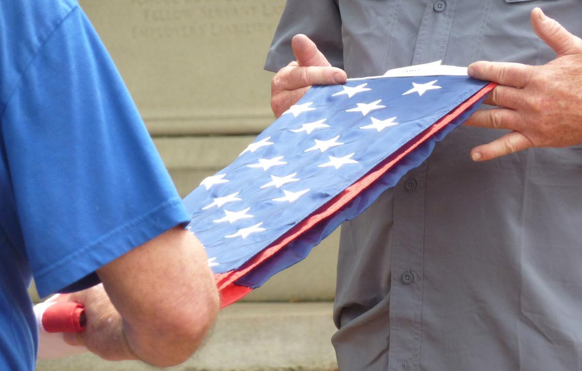 Flag folding closeup