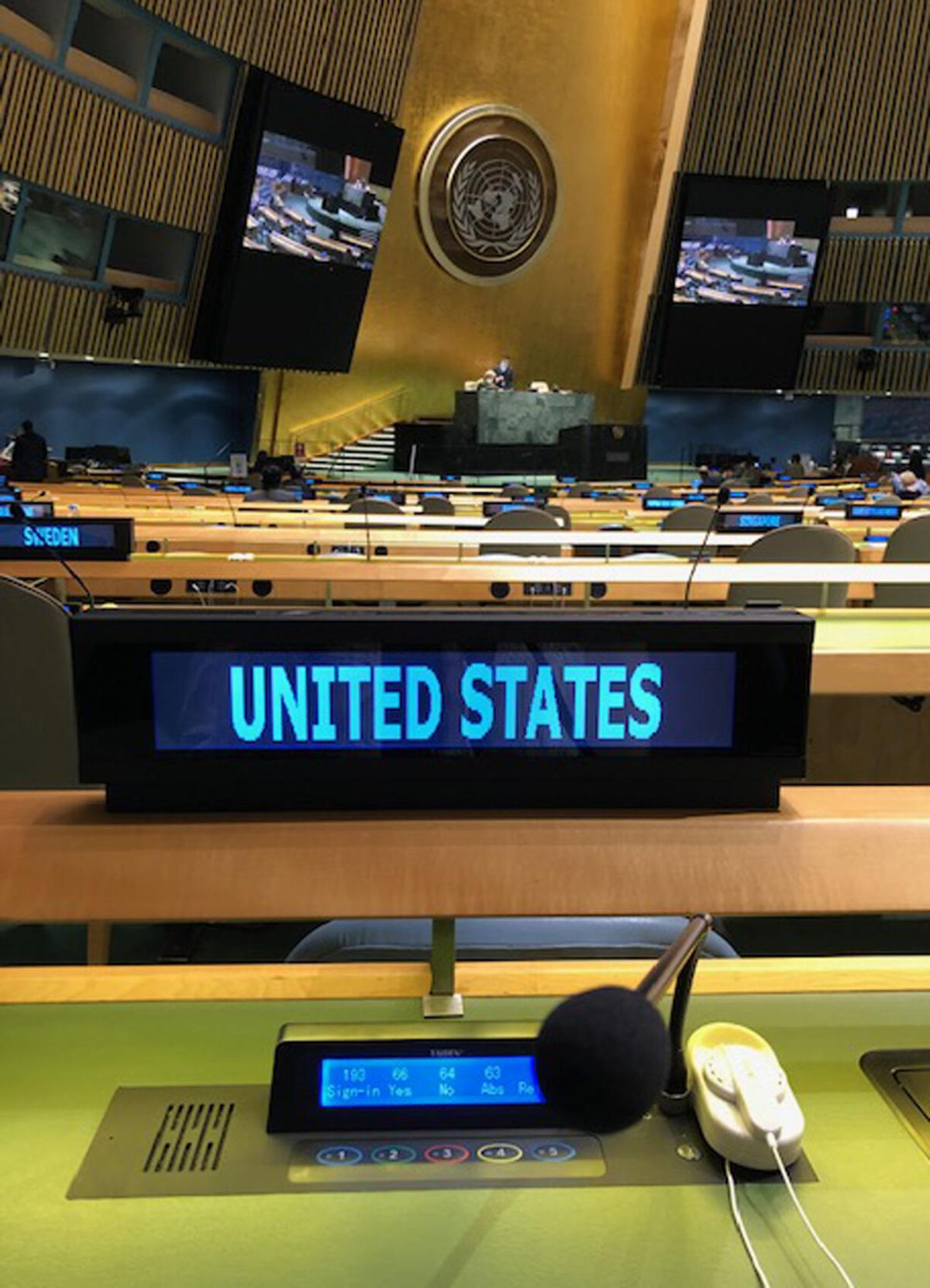 View from U.S. delegate seat at the United Nations