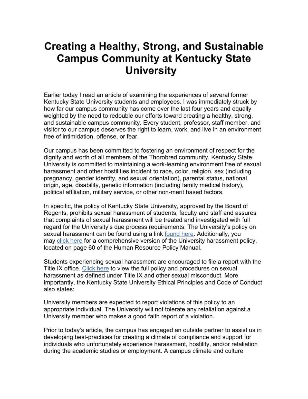 President Brown statement
