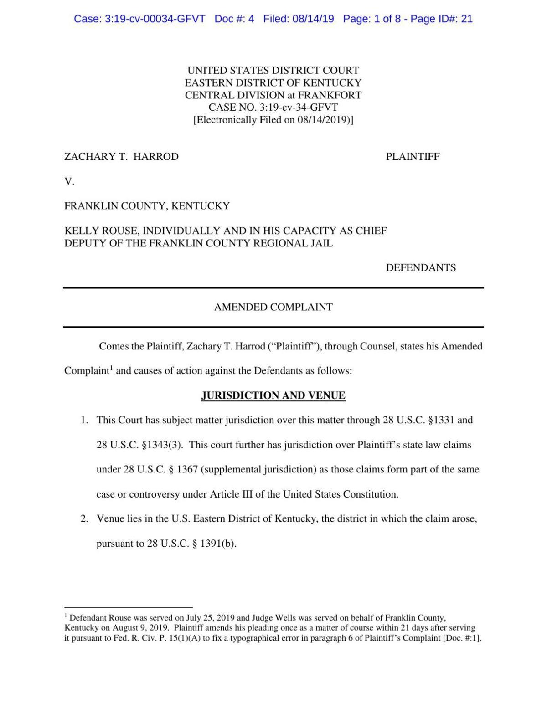 Zachary Harrod lawsuit against Kelly Rouse