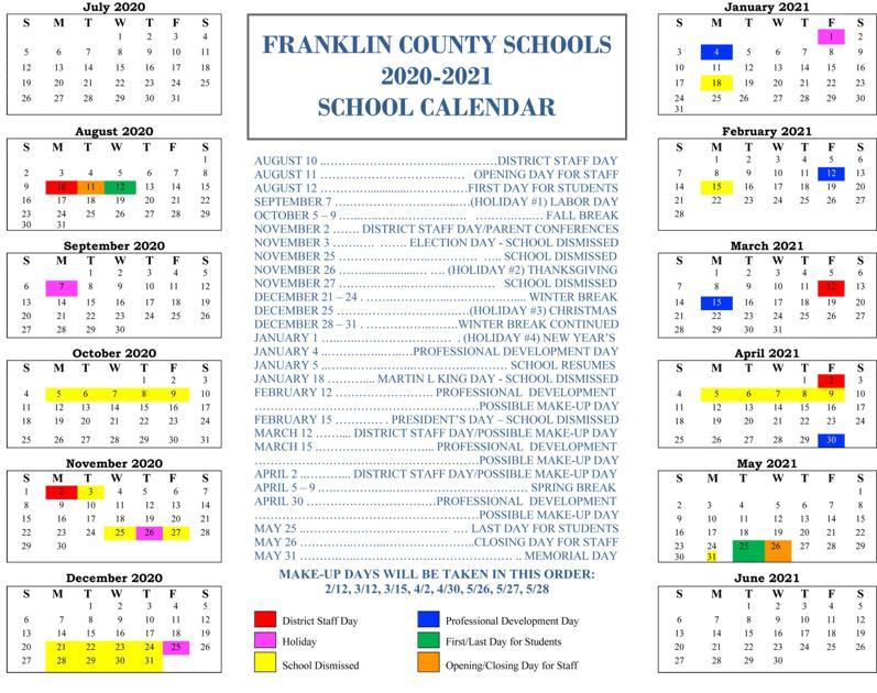 Franklin County Schools approve 2020-21 calendar ...