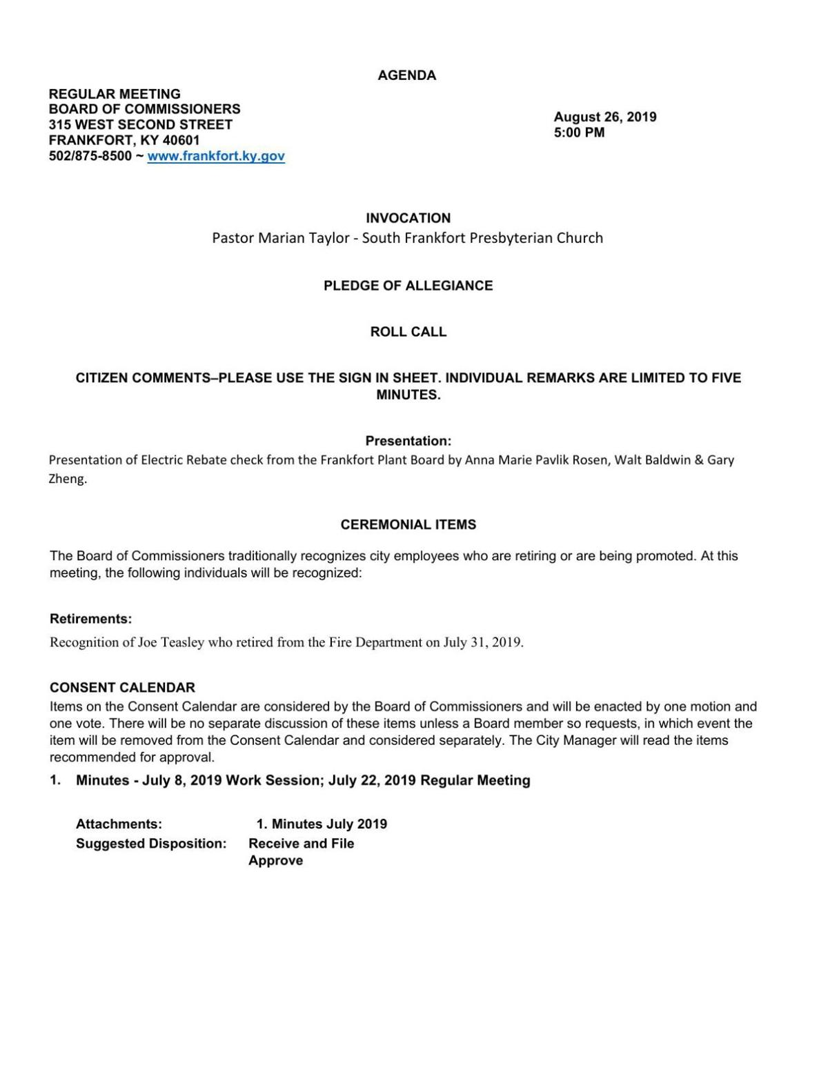 City Commission August Regular Meeting