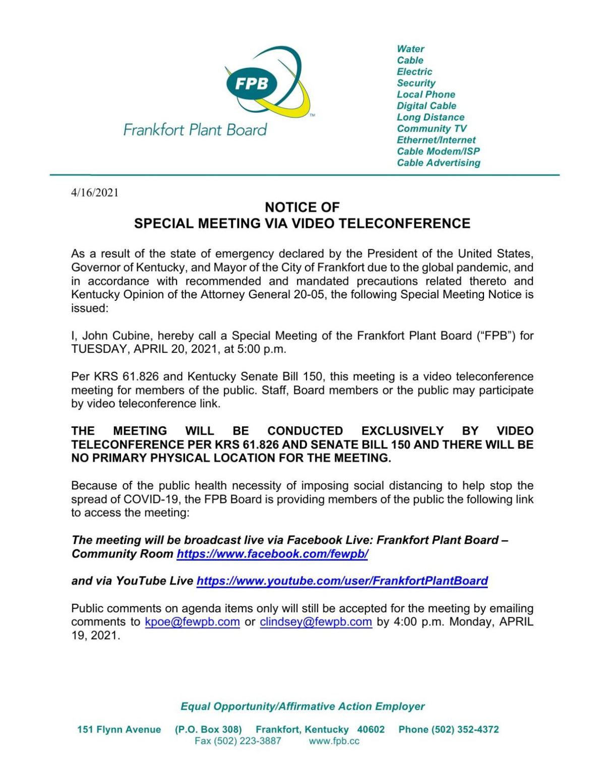 FPB Tuesday agenda