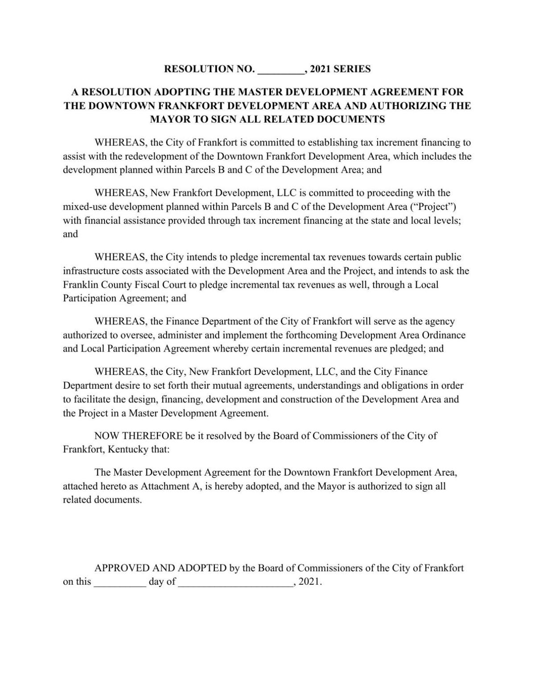 Master Development Agreement Resolution